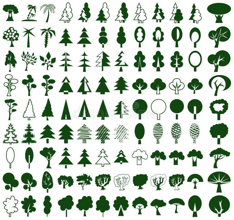 Drzewo ikony na bielu ilustracja wektor