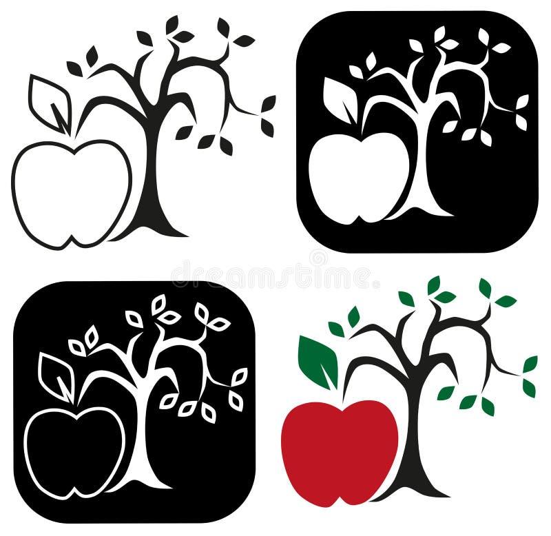 drzewo jabłczany piękny ilustracyjny wektor royalty ilustracja