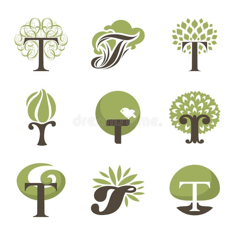 Drzewo. Projektów elementy. Wektorowi logów szablony ustawiający