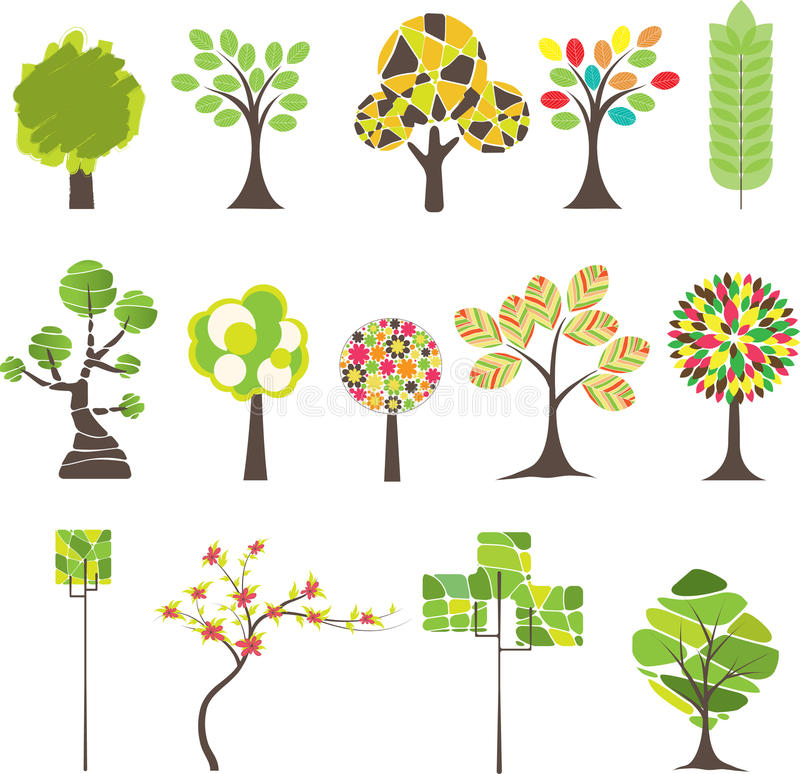 drzewo kolorowy ilustracyjny wektor royalty ilustracja