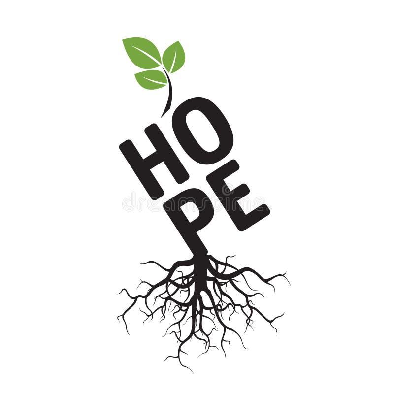 Drzewo, korzenie i tekst nadzieja, royalty ilustracja