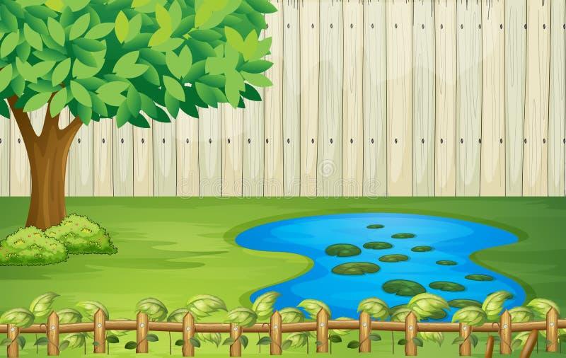 Drzewo, krajobraz, stawowy i piękny royalty ilustracja