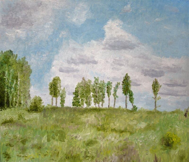 Drzewo Krajobrazowy obraz olejny obrazy stock