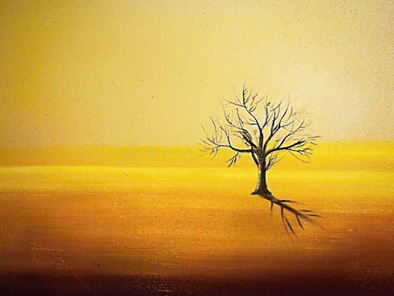 Drzewo który jest osamotniony jako mężczyzna szuka znaczenie życie na pustkowiu suszy w górę, royalty ilustracja