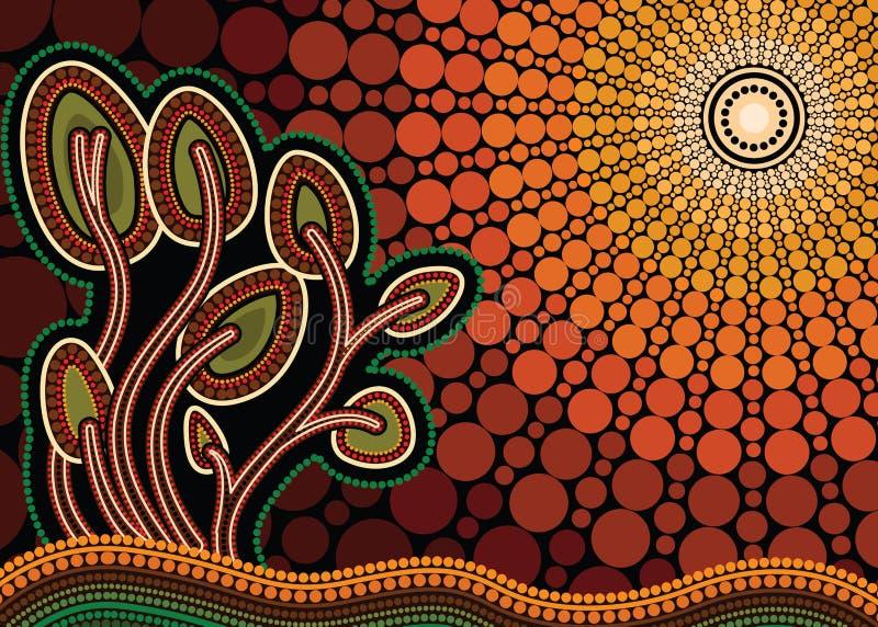 Drzewo na wzgórzu, Tubylczy drzewo, Tubylczej sztuki wektorowy obraz z drzewem i słońce, royalty ilustracja