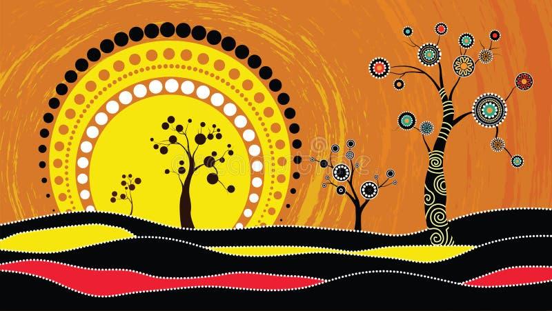 Drzewo na wzgórzu, Tubylczy drzewo, Tubylczej sztuki wektorowy obraz z drzewem i słońce, Ilustracja opierająca się na aborygenu s royalty ilustracja
