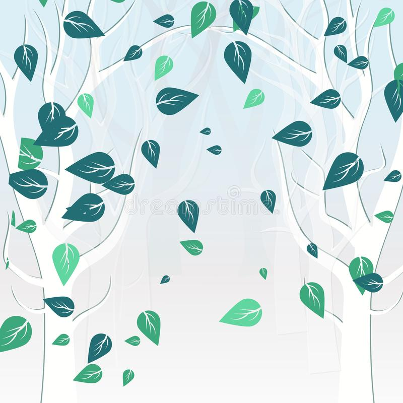 Drzewo natura w zima liści spadać rozprasza białego pojęcie royalty ilustracja
