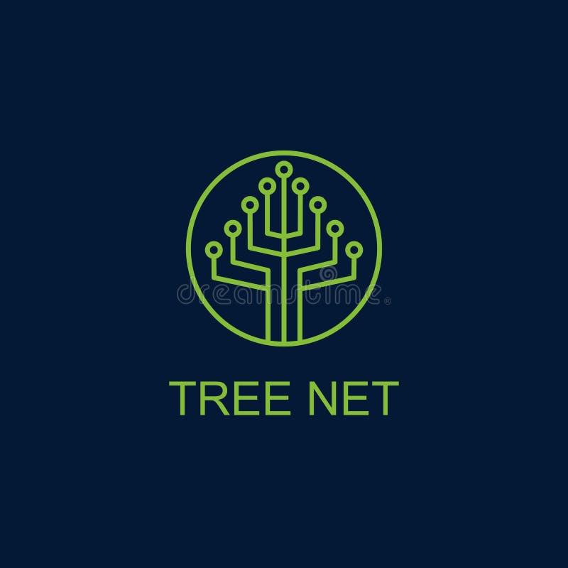 Drzewo netto logo wektorowy projekt royalty ilustracja