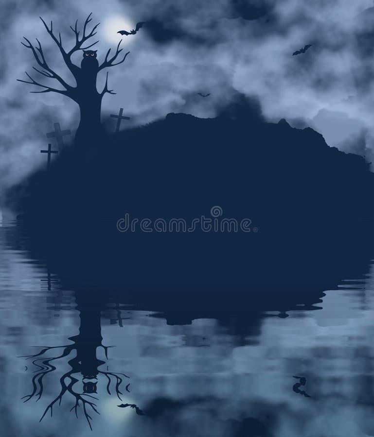 Drzewo, nietoperz, sowa i księżyc na mgłowej nocy z wodnym odbiciem, ilustracji