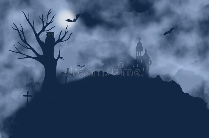 Drzewo, nietoperze, sowa, kasztel i księżyc na mgłowej nocy, royalty ilustracja