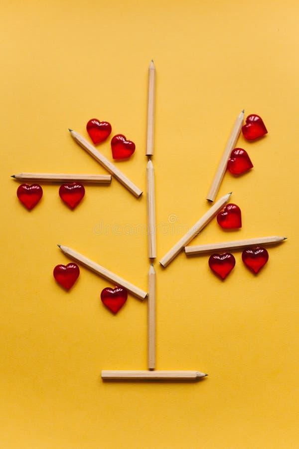 Drzewo ołówki na których są lokalizować czerwoni serca na żółtym tle Kreatywnie miejsce pracy wakacyjny narządzanie obraz stock