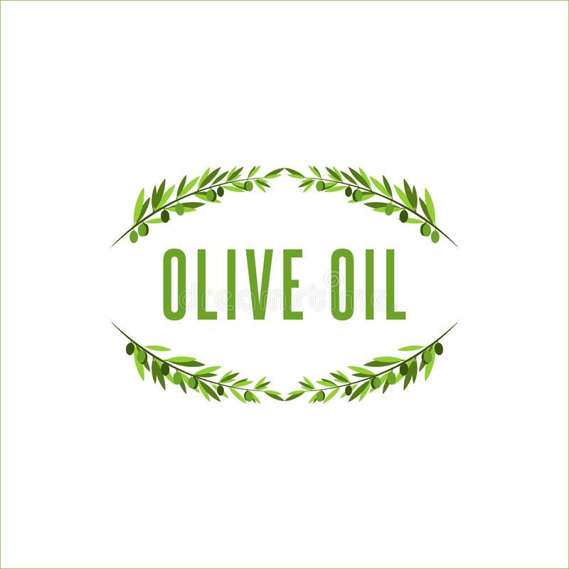 Drzewo oliwne gałąź rama z oliwną owoc, kwiecisty logo dla oliwy z oliwek lub kosmetyki w wyszukanym stylu, royalty ilustracja