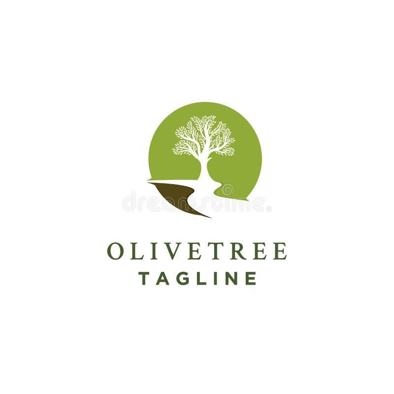 Drzewo oliwne logo projekty z rzekami ilustracja wektor