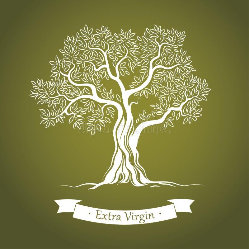 Drzewo oliwne. Oliwa z oliwek. Wektorowy drzewo oliwne. Dla etykietek, paczka.