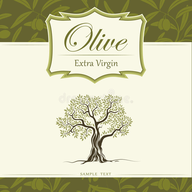 Drzewo oliwne. Oliwa z oliwek. Wektorowy drzewo oliwne. Dla labe royalty ilustracja