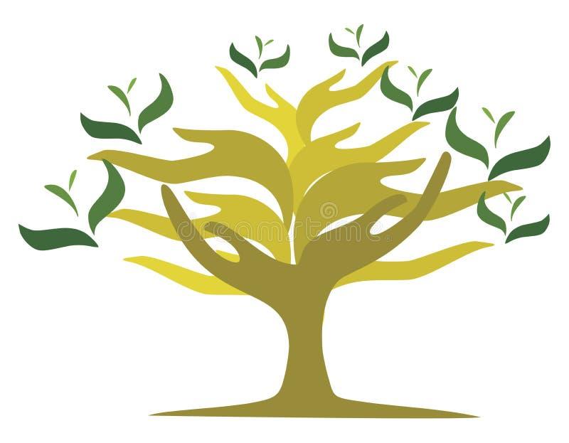 Drzewo otwarte ręki ilustracji