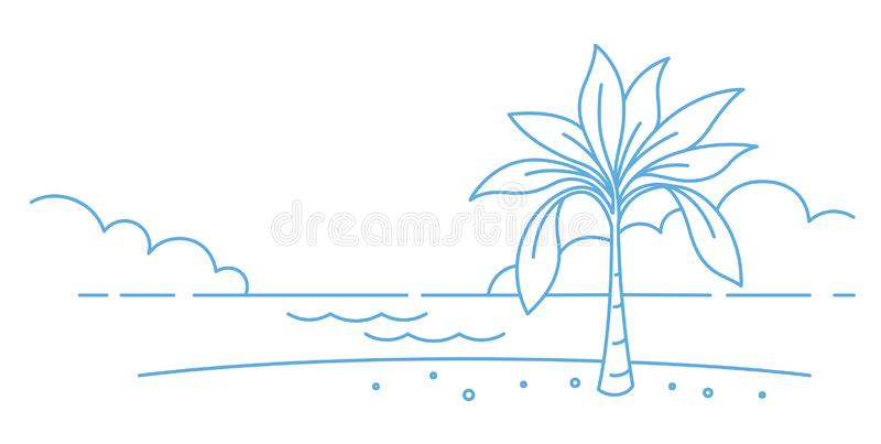 Drzewo palmowe na wybrzeżu plaży Brzeg nadwodny Odpoczynek, wakacje Kopiuj miejsce Kontur linii wektora szklenia Miejsce ilustracji