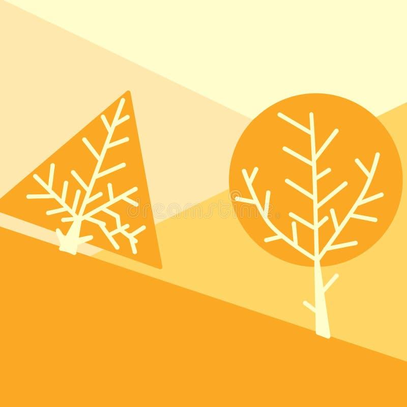Drzewo pomarańczowe, natura, góry, kompleks ilustracji