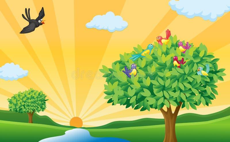 Drzewo ptaki i słońce promienie, ilustracja wektor