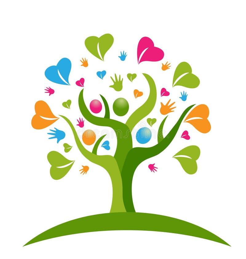 Drzewo ręki i serce postaci ludzie ilustracja wektor