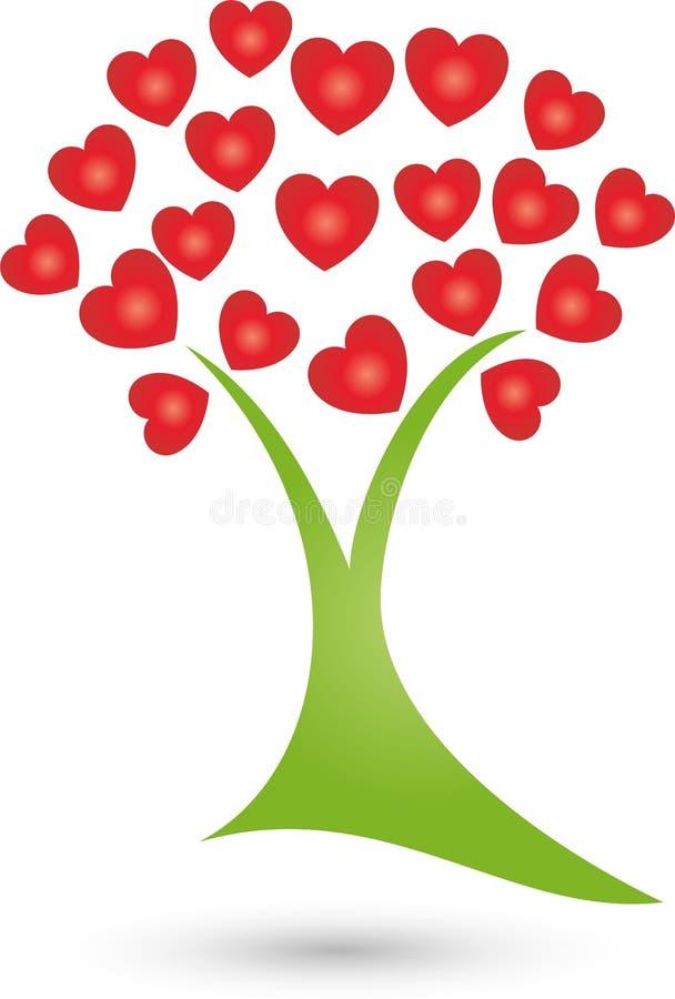 Drzewo, roślina serca, naturopath i wellness logo, ilustracja wektor