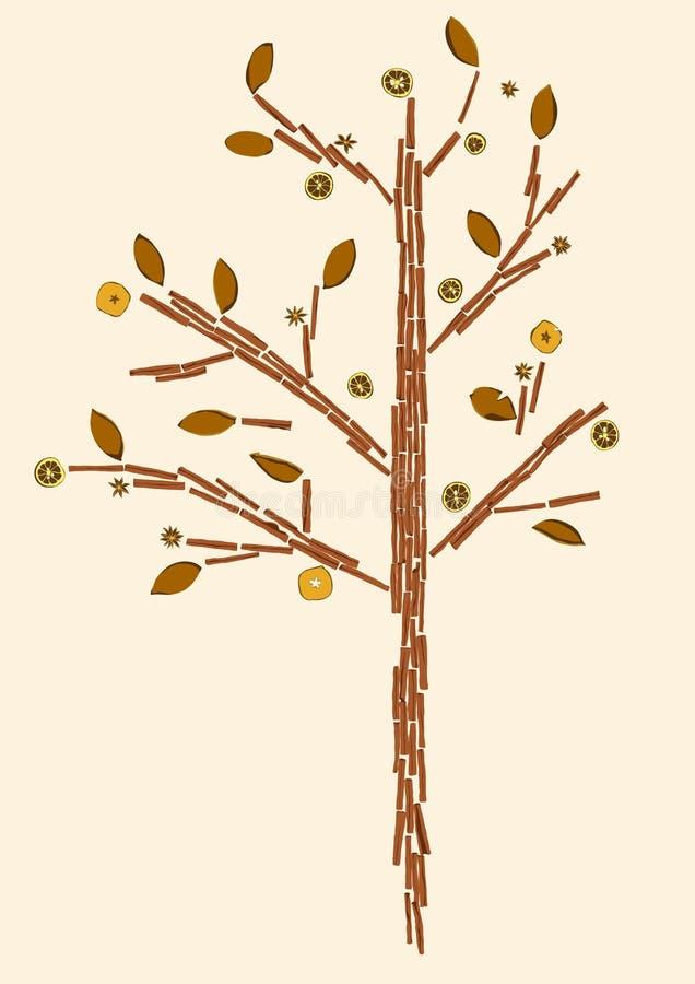 Drzewo robić cynamonowi kije royalty ilustracja