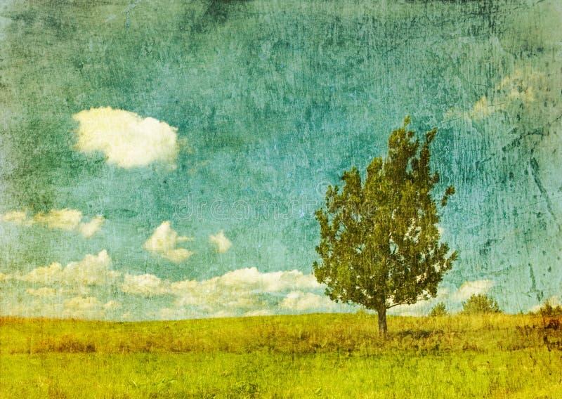 Drzewo rocznika wizerunek ilustracja wektor