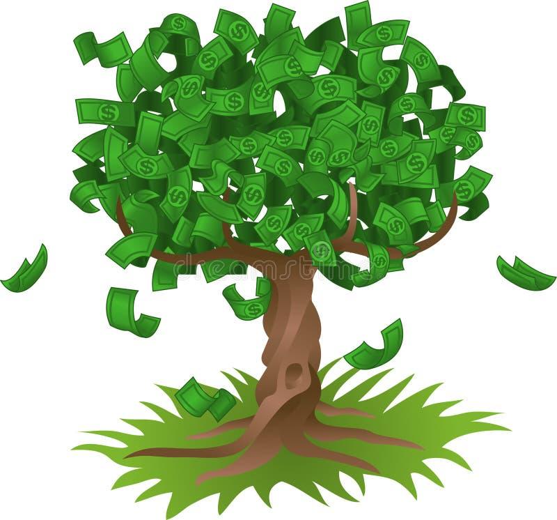 drzewo rosnące pieniądze royalty ilustracja