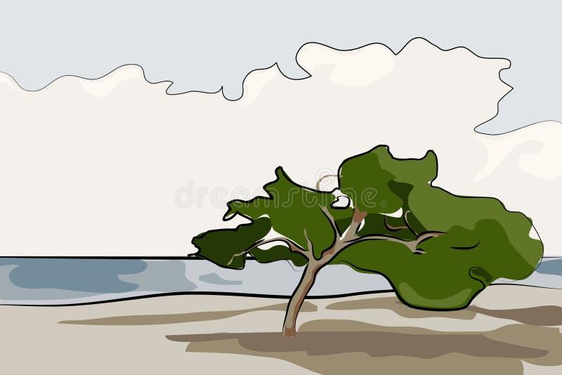 drzewo samotny ilustracyjny wektor ilustracja wektor