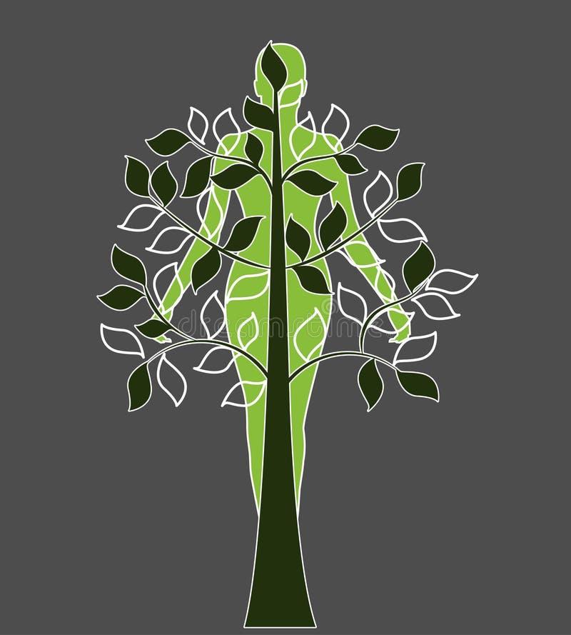 Drzewo superimposed nad kobietą royalty ilustracja