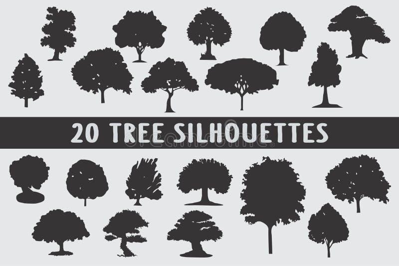 20 drzewo sylwetek projekta różnorodny set royalty ilustracja