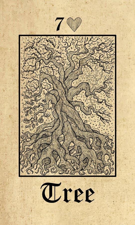 Drzewo Tarot karta od Lenormand tajemnic wyrocznii Gockiego pokładu ilustracja wektor