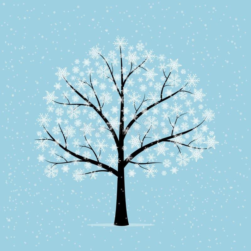 Drzewo w śniegu royalty ilustracja