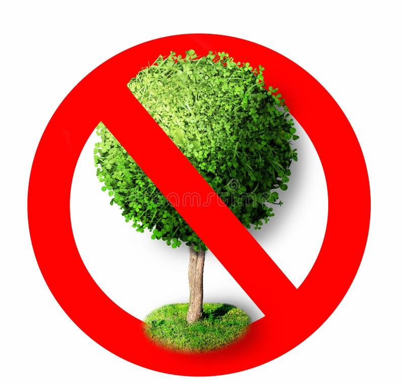 Drzewo w czerwonym prohibicja znaku przestań, symbol obrazy stock