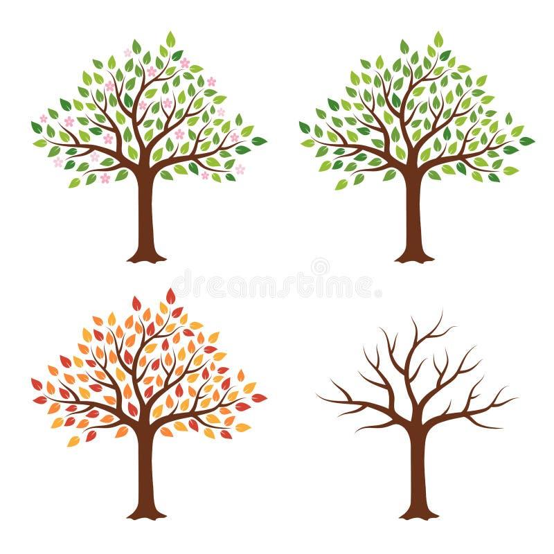 Drzewo w cztery sezonach - wiosna, lato, jesie?, zima pojedynczy bia?e t?o ilustracji