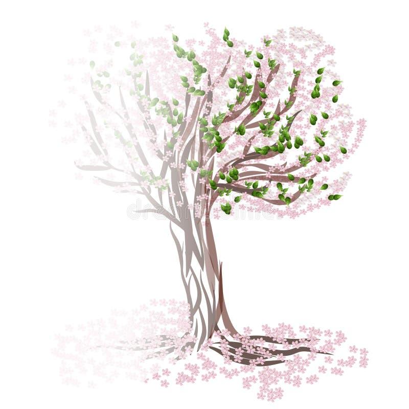 Drzewo w mgle ilustracja wektor