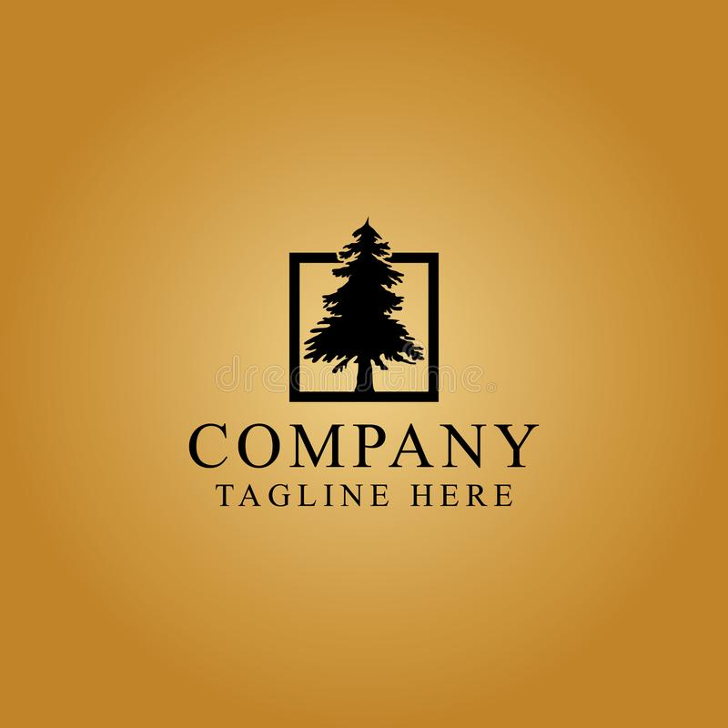 Drzewo w pudełkowatym loga projekcie w złocistym tle fotografia stock