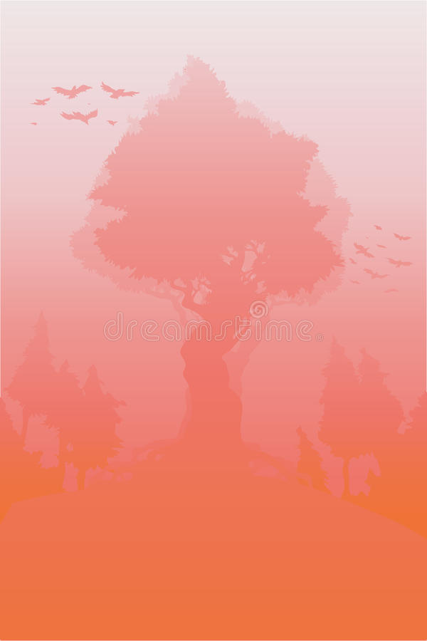 Drzewo w różowej mgle ilustracji