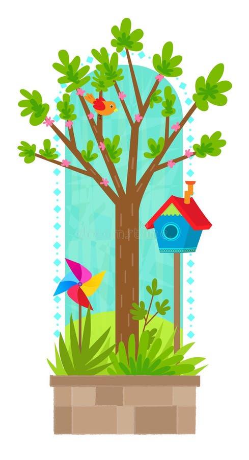 Drzewo w wiosna ilustracja wektor