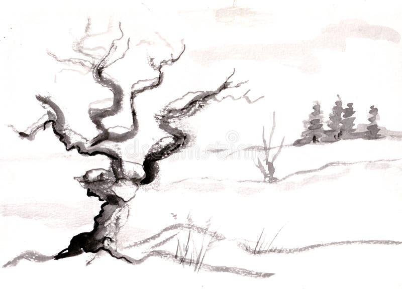 Drzewo w witer royalty ilustracja