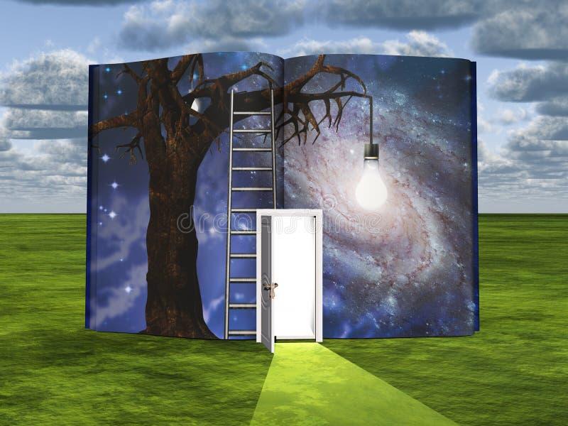 Drzewo z żarówką w książce royalty ilustracja