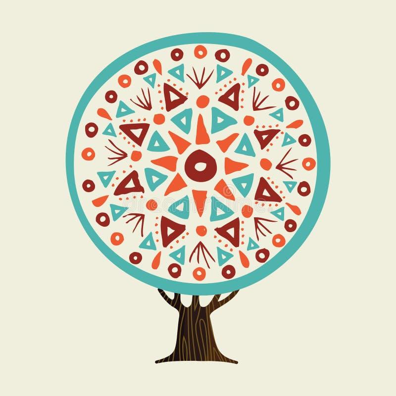 Drzewo z boho stylu ręka rysujący mandala royalty ilustracja