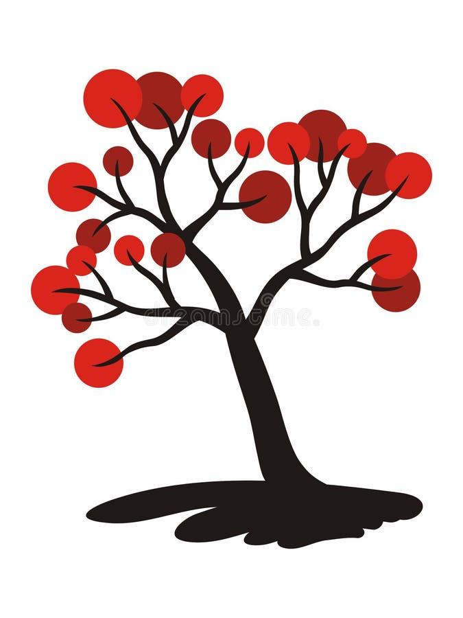 Drzewo z czerwonymi owoc Symboliczny obrazek, rysuje jest może projektant wektor evgeniy grafika niezależny kotelevskiy przedmiot ilustracja wektor