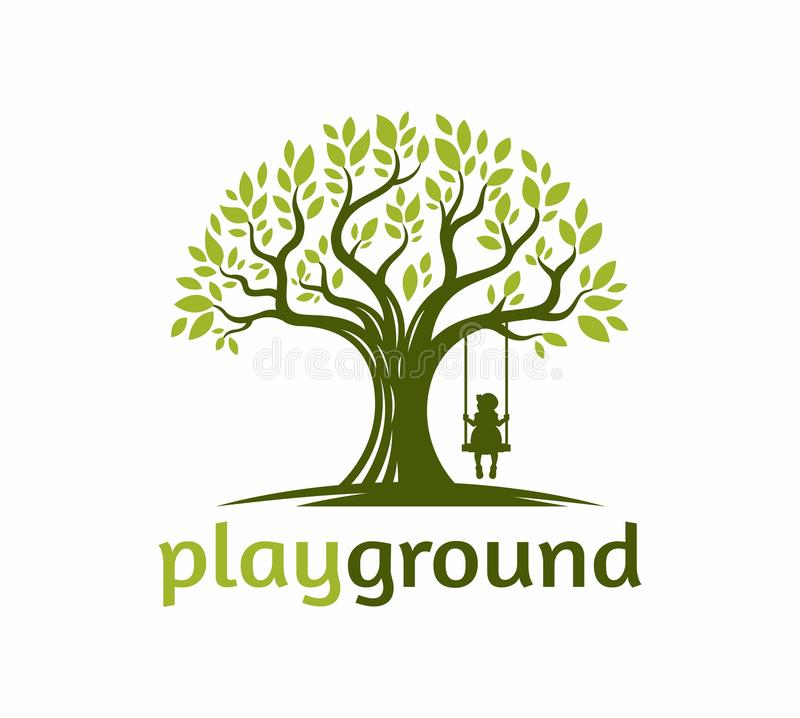 Drzewo z dzieci bawią się huśtawka pod drzewną logo ilustracją ilustracji