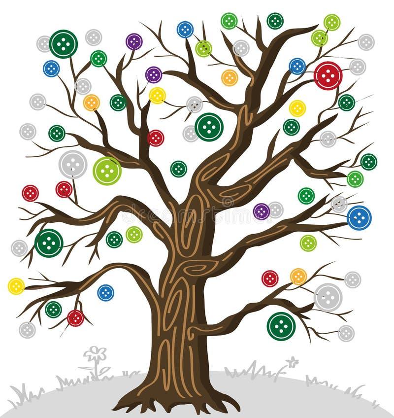 Drzewo z guzikami ilustracja wektor