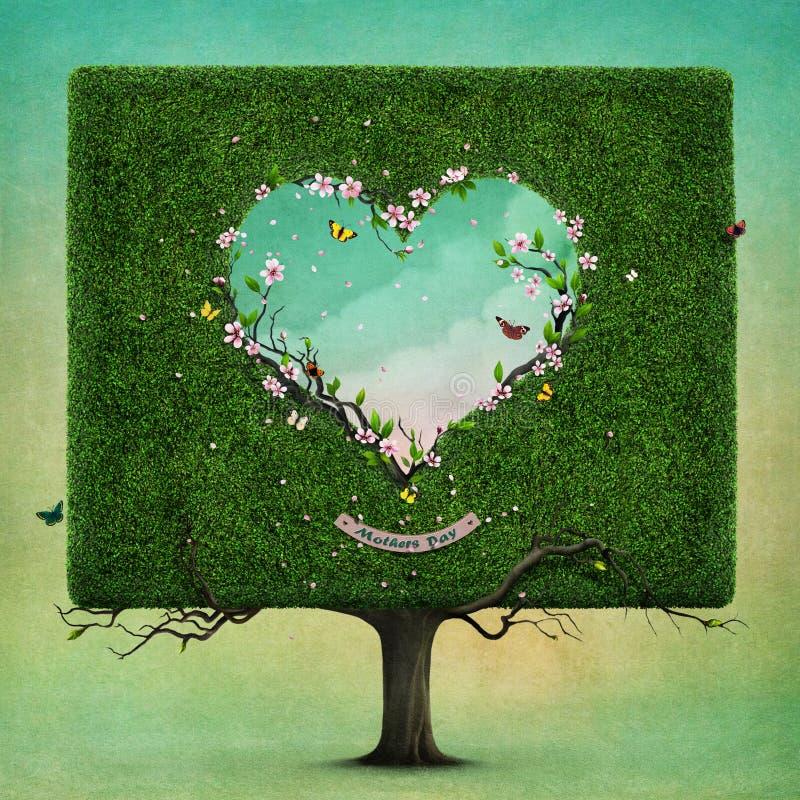 Drzewo z kierowym matka dniem royalty ilustracja