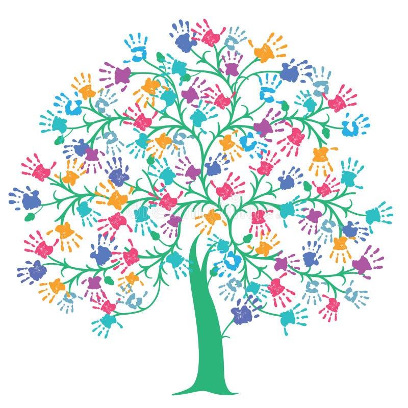 Drzewo z kolorowymi ręka drukami ilustracji
