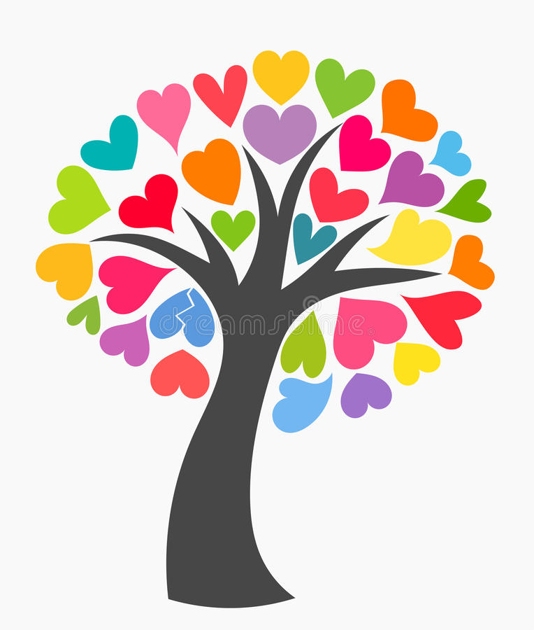 Drzewo z kolorowymi sercami ilustracja wektor