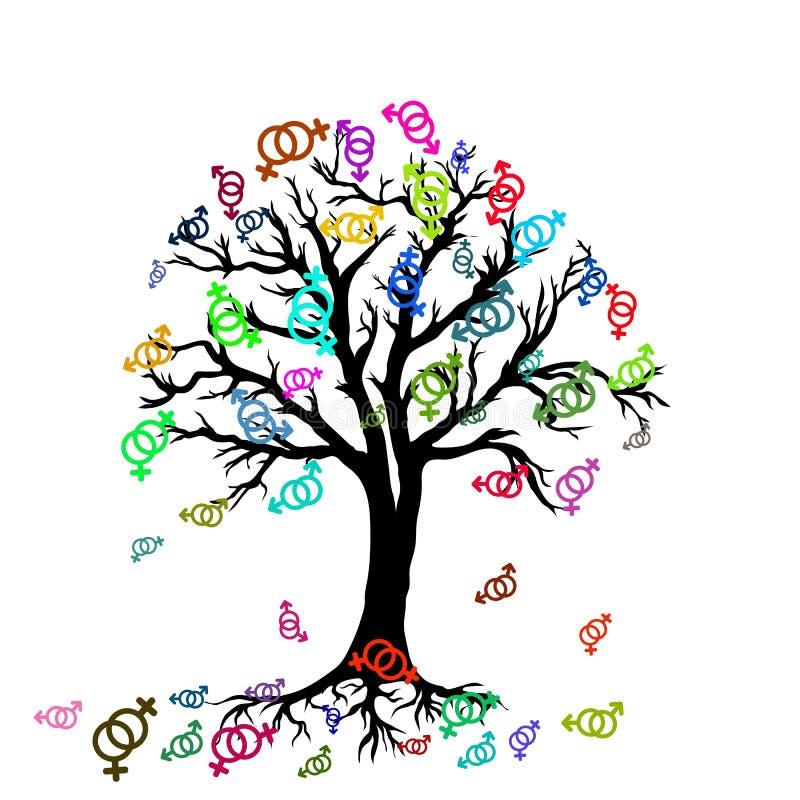 Drzewo z kolorowymi symbolami lesbian para ilustracja wektor
