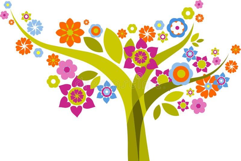 Drzewo z kwiatami royalty ilustracja